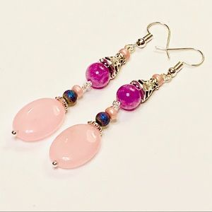 Pink Chalcedony & Phosphosiderite Dangle Earrings